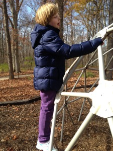 Zoe Climbing on the Sensory Trail's Climibing Station!