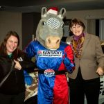 Meghan Kessen and Peggy Kreimer with KY Speedway mascot