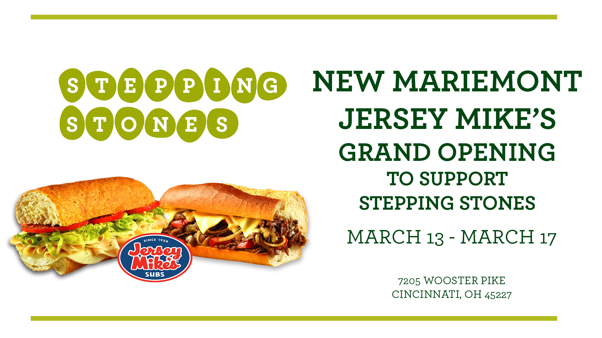 New Mariemont Jersey Mike's Grand Opening to Support Stepping Stones I Cincinnati, Ohio